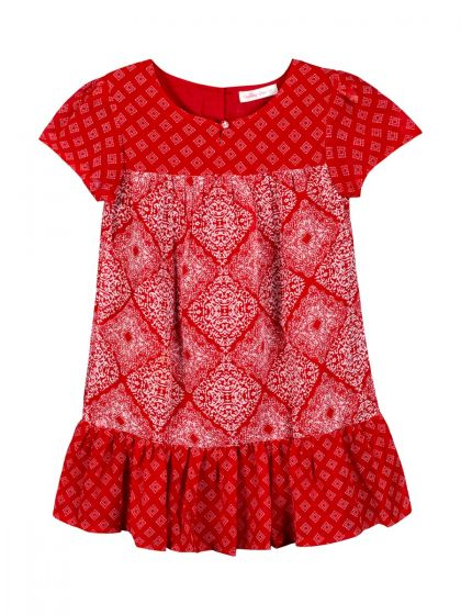 Girls Red Printed A-Line Dress