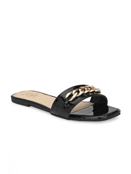 Zebba Women Black Flats