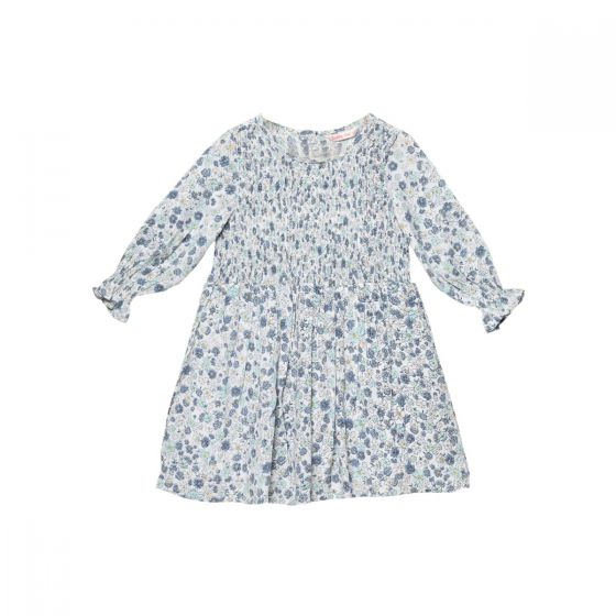 Girls Blue Smocking Printed Fit and Flare Dress