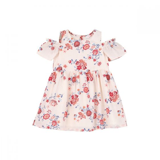 Girls Off-White & Red FLoral Printed Fit and Flare Dress