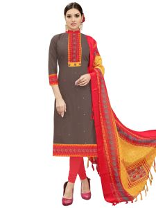 Brown Cotton Embroidered Dress Material