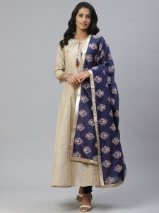 Designer Printed Kurta And Silk Dupatta Set For Women