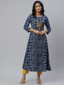Designer Embroidery Blue Kurta With Cotton Pant Set For Women