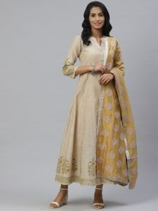 Designer Printed Beige Kurta with Silk Dupatta Set For Women