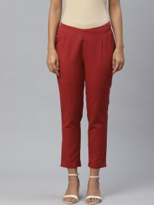 Designer Flex Solid Maroon Trouser For Women