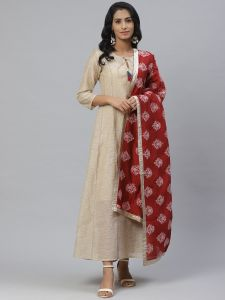 Designer Printed Kurta with Silk Dupatta Set For Women
