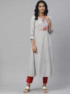 Designer Cotton White Kurta With Pant Set For Women