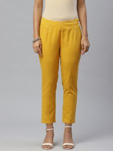 Designer Flex Solid YellowTrouser For Women