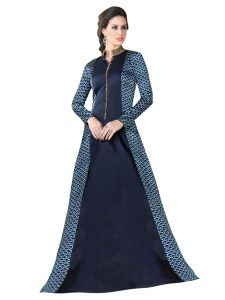 Navy Blue Satin Embroidered Gown