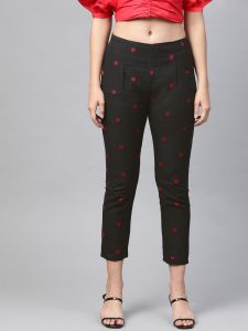 Pinksky Designer Black Cotton Flex Slim Pants For Women.