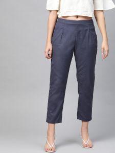 Pinksky Designer Cotton Navy Flex Slim Pants For Women.