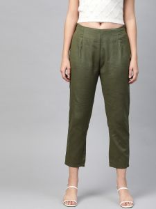 Pinksky Designer Cotton Olive Flex Slim Pants For Women.