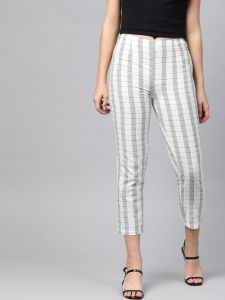 Pinksky Designer White Cotton Flex Slim Pants For Women.