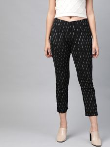 Pinksky Designer Cotton Black Flex Slim Pants For Women.
