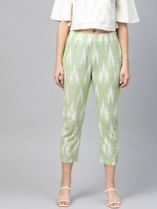 Pinksky Designer Cotton Green Flex Slim Pants For Women.