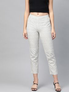 Pinksky Designer White Cotton Flex Slim Pant For Women.