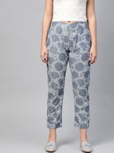 Pinksky Designer Printed Cotton Flex Slim Pants For Women.