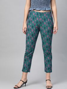Pinksky Designer Cotton Teal Flex Slim Pants For Women.