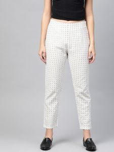 Pinksky Designer Cotton White Flex Slim Pants For Women.