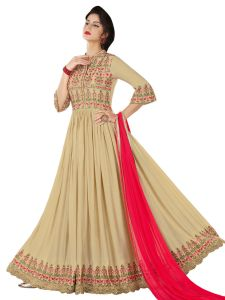 Beige Rayon Embroidered Dress Material