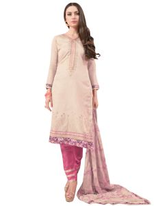 Cream Tissue Embroidered Dress Material