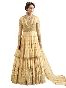 Yellow Net Embroidered Dress Material