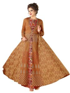 Rust Rayon Embroidered Gown