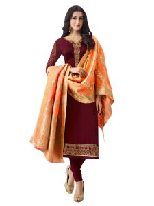 Maroon Satin Embroidered Dress Material