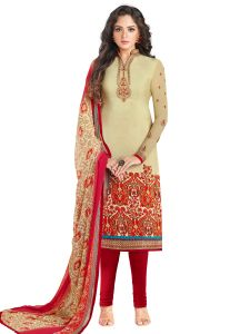 Beige Crepe Embroidered Dress Material