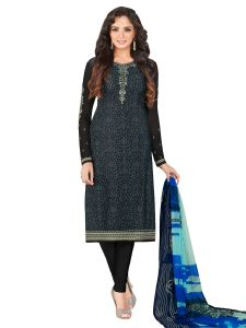 Grey Crepe Embroidered Dress Material