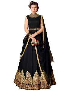 Black Raw Silk Embroidered Dress Material