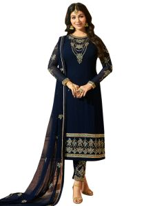 Navy Blue Georgette Embroidered Dress Material