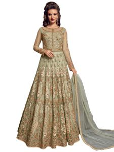 Green Net Embroidered Dress Material