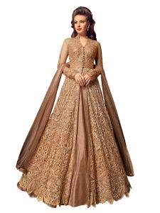 Beige Net Embroidered Dress Material