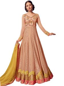 Peach Georgette Embroidered Dress Material