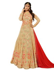 Beige Georgette Embroidered Dress Material