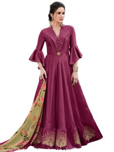 Wine Silk Blend Embroidered Gown