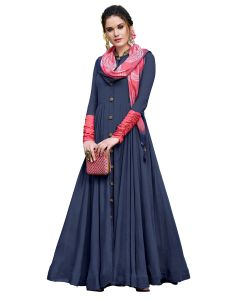 Navy Blue Linen Satin Solid Gown