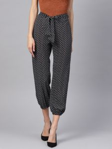Designer Black White Print Trouser For Women