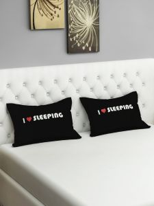 Swayam I Love Sleeping Graffiti Black Pillow