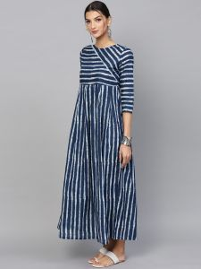 Blue & White Striped Printed Pleated Maxi