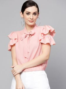 Solid Ruffle And Tie-Up Top