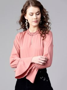 Zima Leto Women's Ruffled Pearl Embellished Collar Top