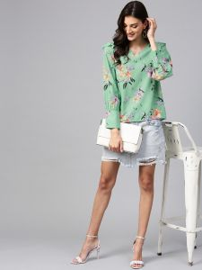Zima Leto Women's Green Floral Print Top With Shoulder Ruffles