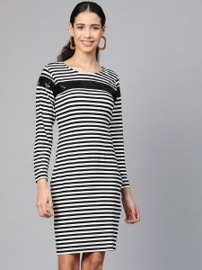Zima Leto Women's Stripe Dress With Sequin Patch