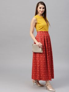 Red Printed box pleated Skirt