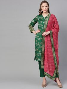 Women Printed Kurti with Pant & Dupatta