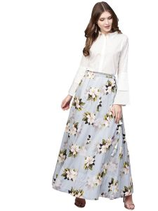 Ahalyaa Floral Cotton Skirt with White Top