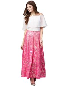 Ahalyaa Off Shoulder Blouse with Skirt