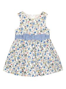 Infant Girls Blue & Off White Floral Print Fit and Flare Dress